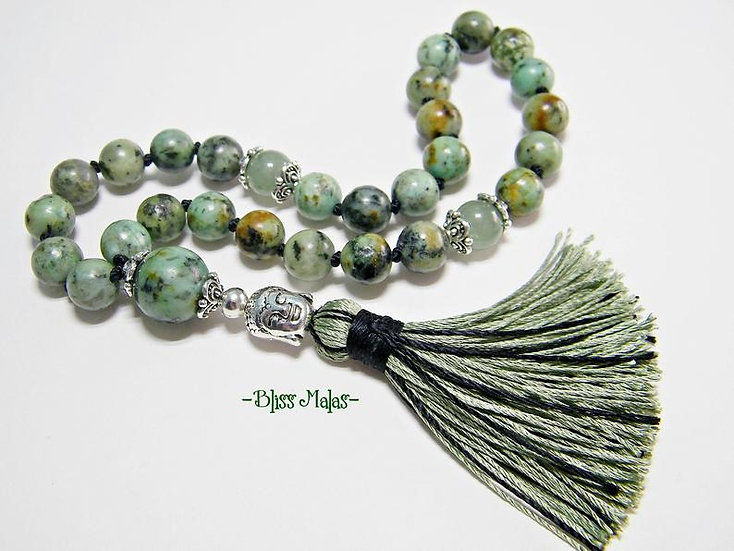 Mini Mala Beads 27, Knotted, African Turquoise, Green Aventurine, Yoga, Mantra