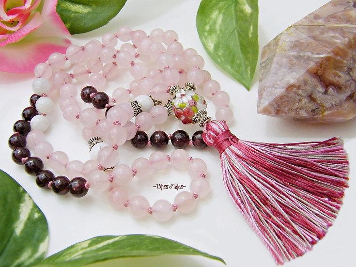 Mala Beads 108, Pink Peruvian Opal, Garnet, Rose Quartz, Rainbow Moonstone, Yoga