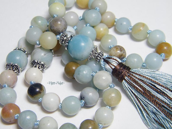Mala Beads 54, Half Size Prayer Beads, Amazonite, Mantra, Yoga, Japa