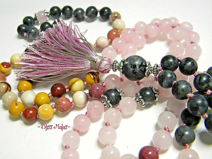 Mala Beads 108, Knotted, Labradorite, Mookaite, Rose Quartz, Heart Chakra