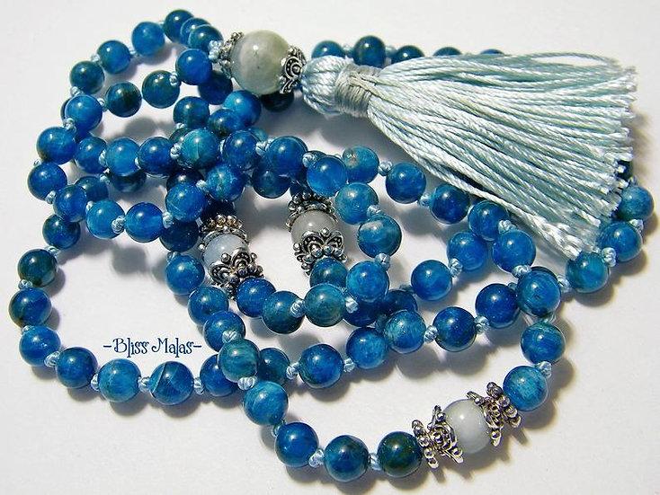 6mm Mala Prayer Beads 108, Apatite, Aquamarine, Yoga, Meditation Jewelry