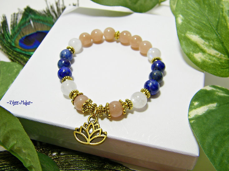 Sun Moon Sky Enlightened Lotus Stretch Bracelet, Sunstone, Moonstone, Lapis