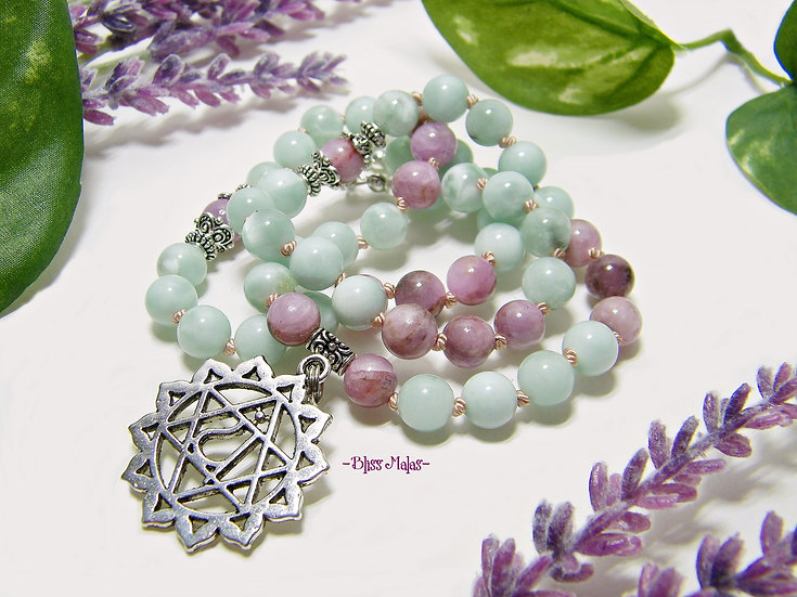 Heart Chakra Mala Necklace 54 Beads, Green Moonstone, Kunzite, Yoga, Pendant