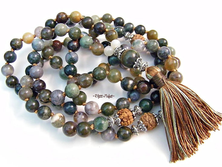 Mala Prayer Beads 108, Moonstone, India Agate, Rudraksha, Yoga, Spiritual