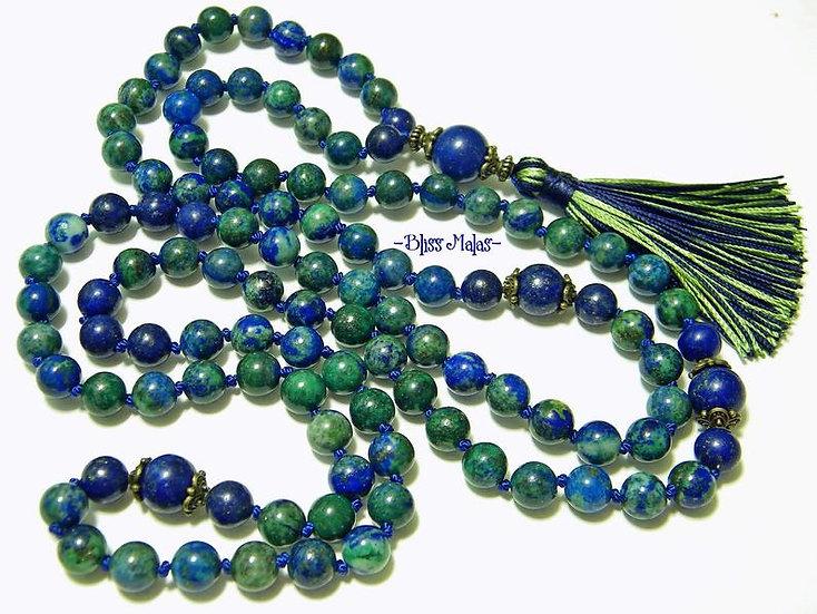 Mala Prayer Beads 108, Azurite Malachite, Lapis Lazuli, Pyrite, Meditation