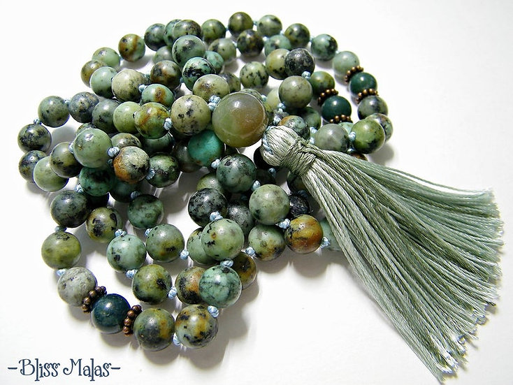 Mala Prayer Beads 108, African Turquoise, India Agate, Yoga Beads