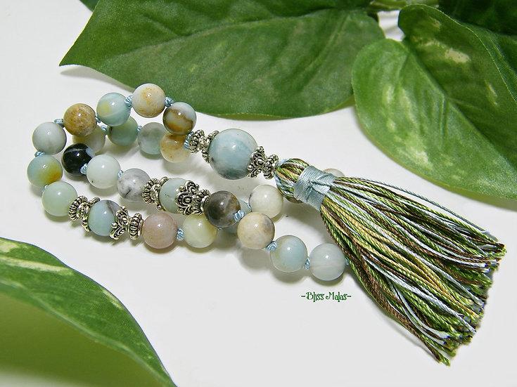 Amazonite Mini Mala, Pocket Mala 27 Beads, Wrist Mala, Yoga, Meditation
