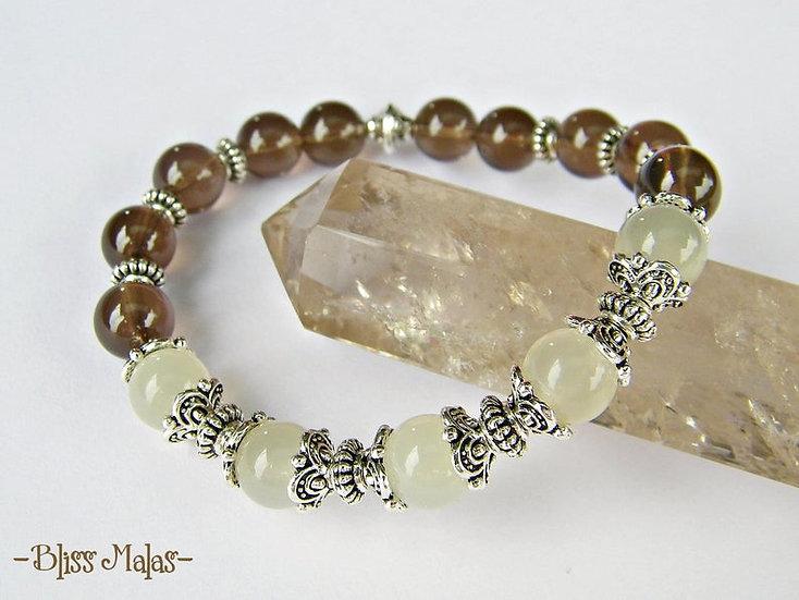 Yoga Stretch Bracelet, Mala Bracelet, Rainbow Moonstone, Smokey Quartz, Wrist