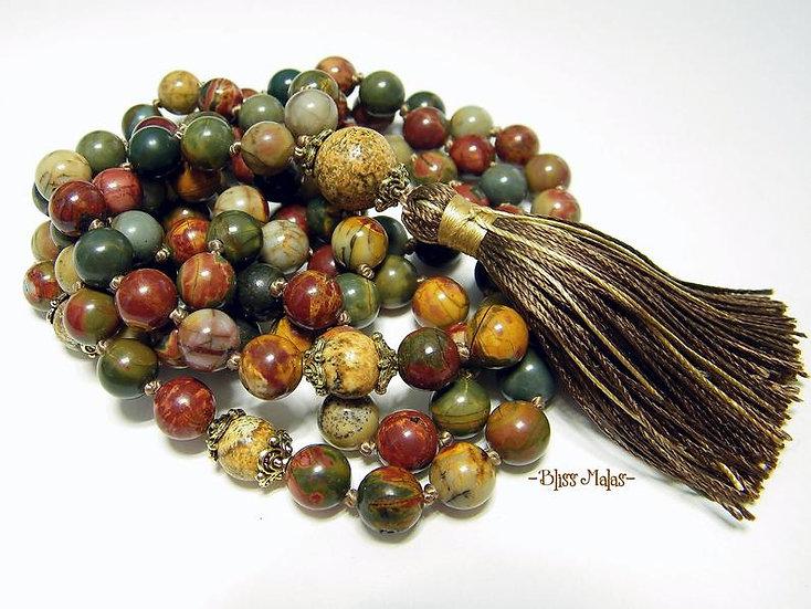 Mala Prayer Beads 108, Picasso Jasper, Picture Jasper, Meditation