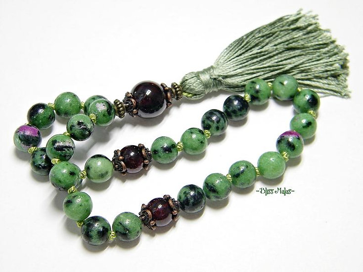 Mini Mala Prayer Beads 27, Pocket Size, Ruby Zoisite, Garnet, Yoga, Meditation