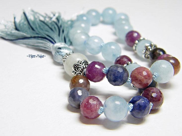 Mini Mala Prayer Beads 27, Precious Sapphire Corundum, Aquamarine, Yoga Jewelry