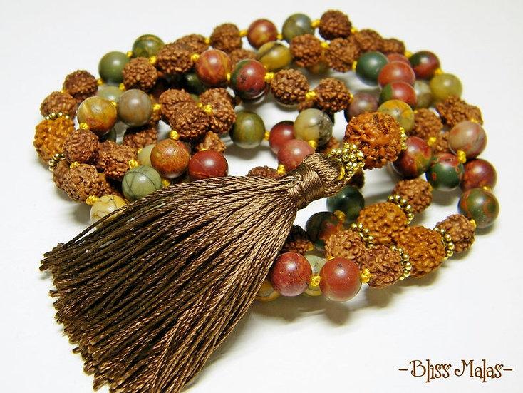 Mala Prayer Beads 108, Picasso Jasper, Rudraksha, Spiritual Jewelry, Nurturing