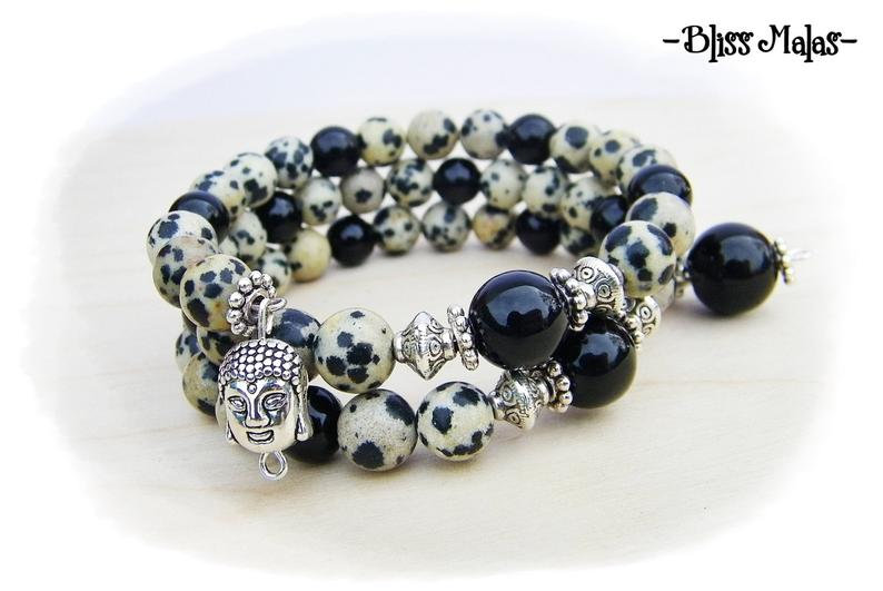 Memory Wire Mala Bracelet, Dalmation Jasper, Black Onyx, Meditation, Yoga, Wrist