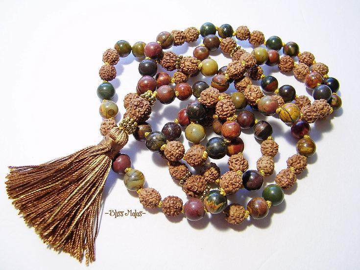 Mala Beads 108, Rudraksha, Picasso Jasper, Yoga and Meditation Beads