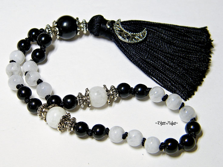 6mm Rainbow Moonstone, Black Tourmaline, Mini Travel Mala Prayer Beads 27, Yoga