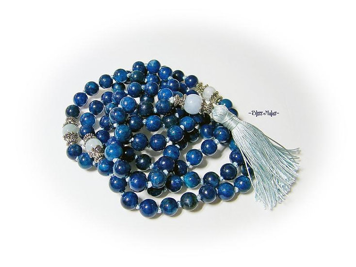 Mala Prayer Beads 108, Apatite, Aquamarine, Yoga Beads