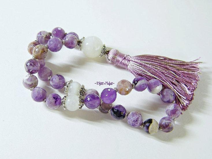 Mini Mala Prayer Beads 27, Chevron Amethyst, Rainbow Moonstone, Yoga, Pocket