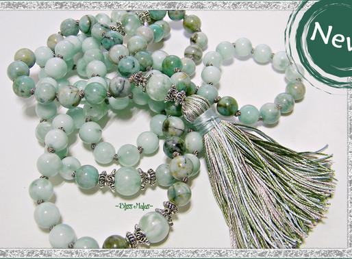 NEW! ~ Precious Emerald & Green Moonstone Mala Beads 108!