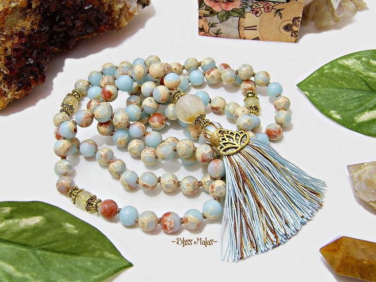 Golden Enlightened Lotus Blossom Mala Prayer Beads 108, African Opal, Citrine