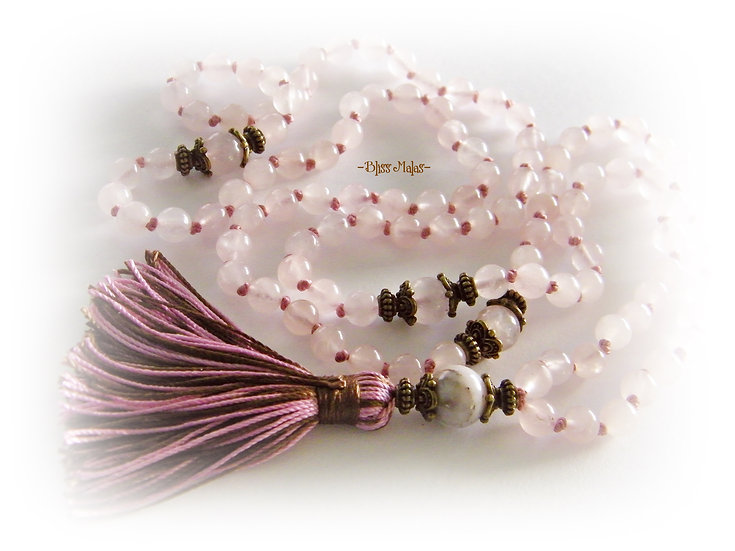 Mala Prayer Beads 108, Knotted, Pink Peruvian Opal, Rose Quartz, Yoga, Love
