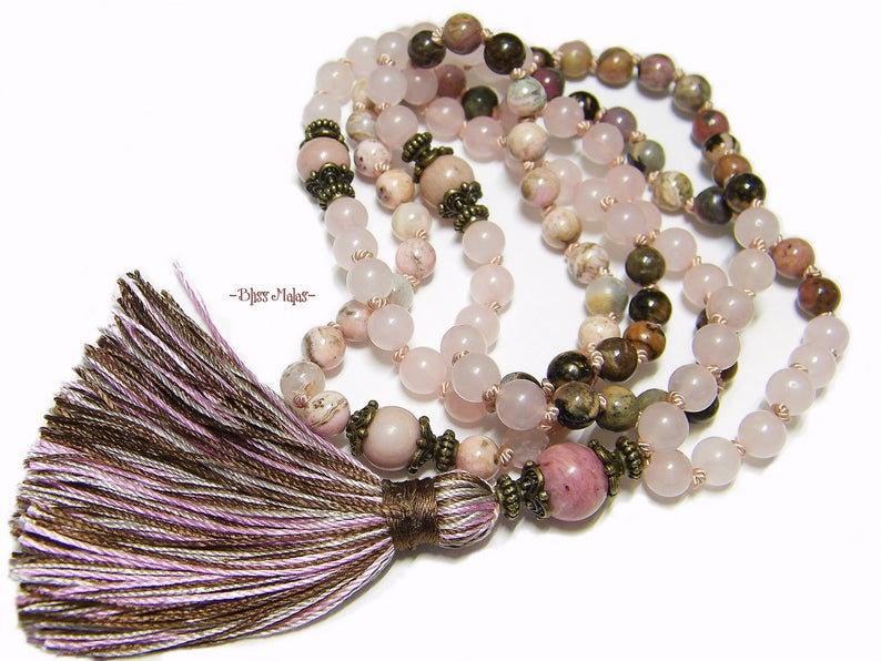 healing heart 108 bead mala for love Lotus Love Mala \u00bb Rose Quartz Mala with rhodochrosite and lotus guru bead bringing passion