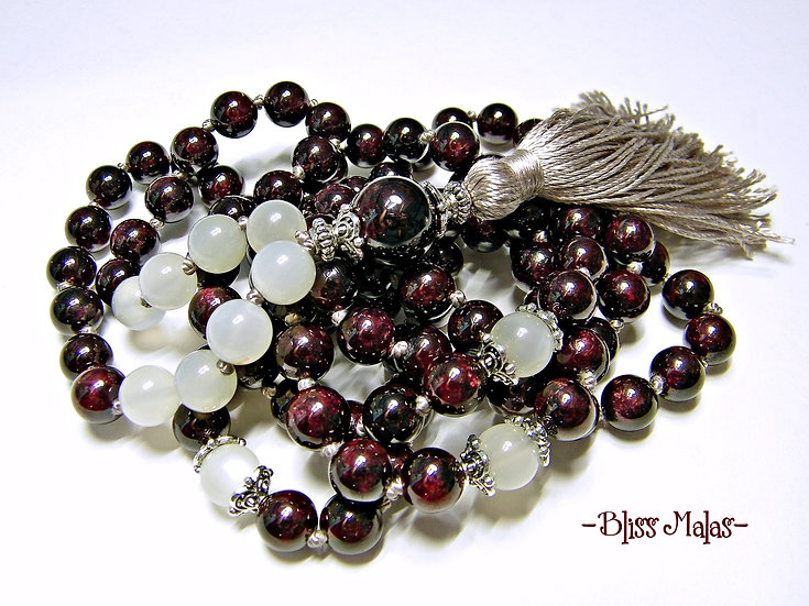 Garnet, Rainbow Moonstone, Mala Prayer Beads 108, Yoga