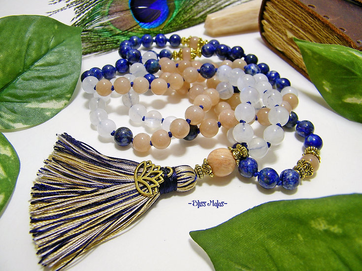 Sun Moon Sky Enlightened Lotus Blossom Mala Prayer Beads 108 Knotted