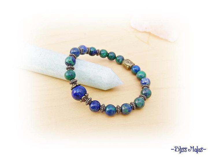 Yoga Stretch Bracelet, Mala Bracelet, Azurite Malachite, Lapis Lazuli Gemstones