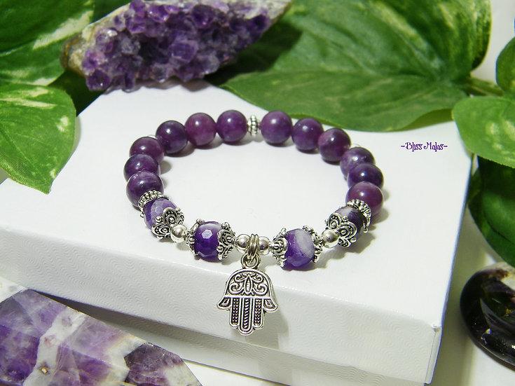 Yoga Stretch Bracelet, Mala Bracelet, Chevron Amethyst, Lepidolite, Chakras