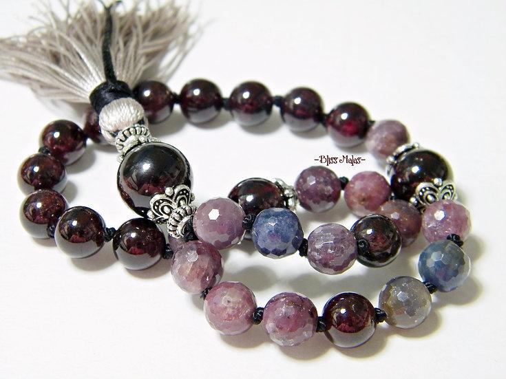 Mini Mala Beads 27, Precious Sapphire Corundum, Garnet, Yoga, Meditation Jewelry