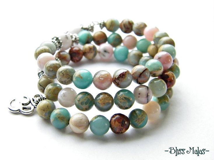 Memory Wire Mala Bracelet 54, Pink Peruvian Opal, Aqua Terra Jasper, Meditation