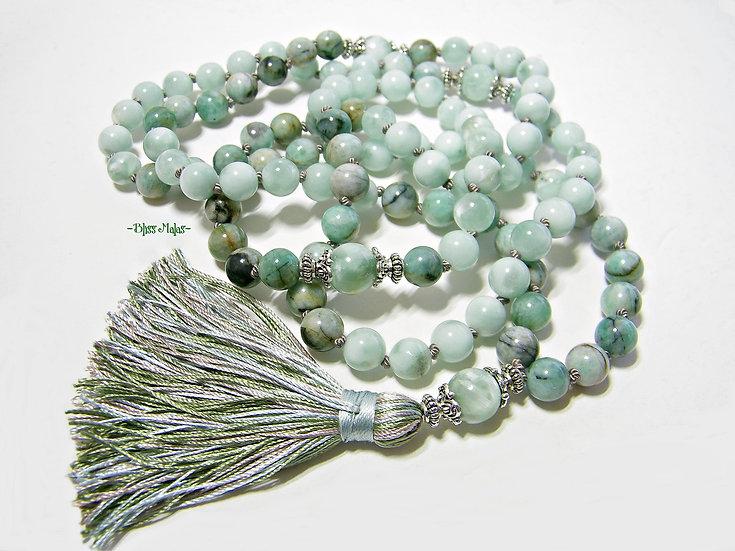 Mala Prayer Beads 108, Precious Emerald Colombia, Semi Precious Green Moonstone