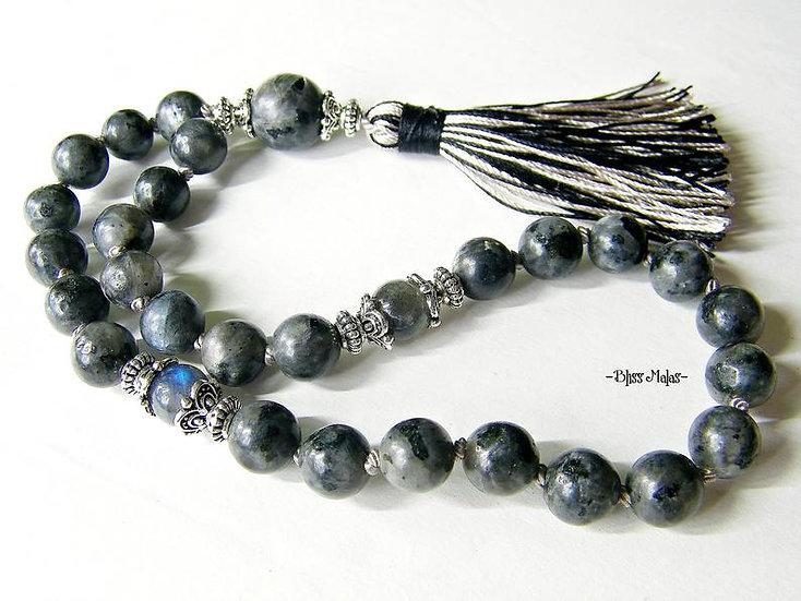 Mini Mala Prayer Beads 27, Labradorite, Larvikite Labradorite, Yoga, Spiritual