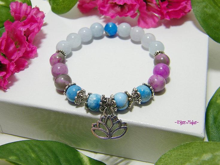 Yoga Stretch Bracelet, Mala Bracelet, Sugilite, Apatite, Aquamarine, Lotus Charm
