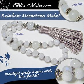 NEW Product Release | Rainbow Moonstone Mini Travel Size Mala Beads!