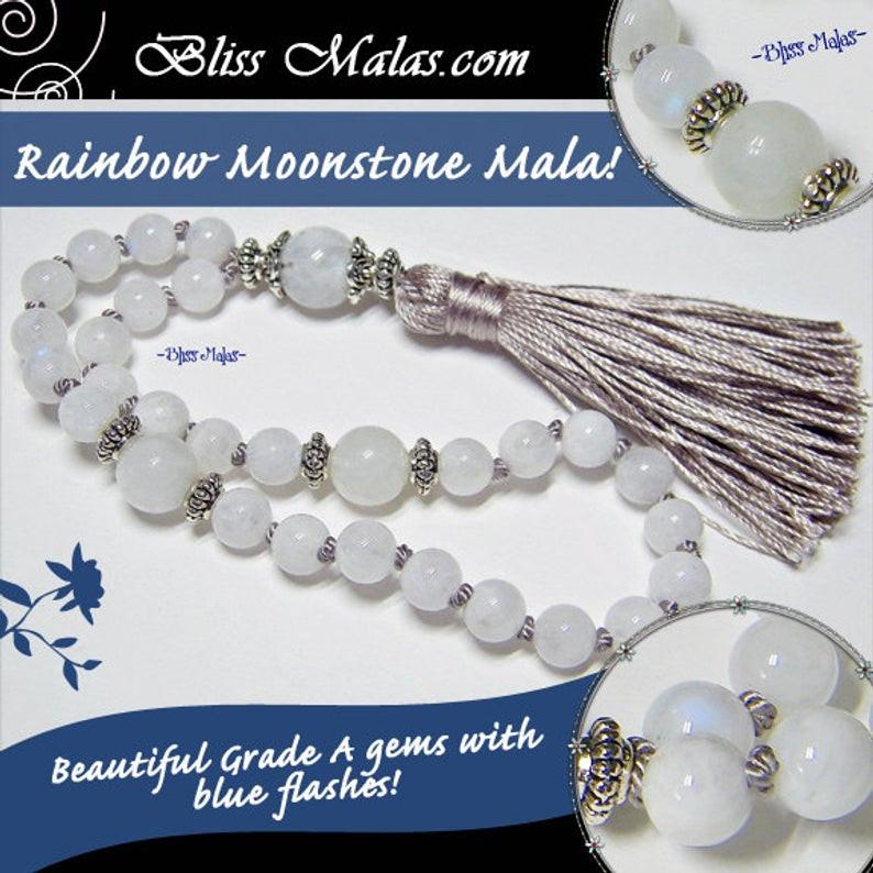 Rainbow Moonstone gemstone mala prayer beads