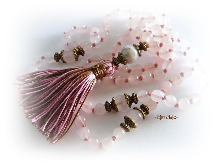 Mala Prayer Beads 108, Pink Peruvian Opal, Rose Quartz, Yoga Beads