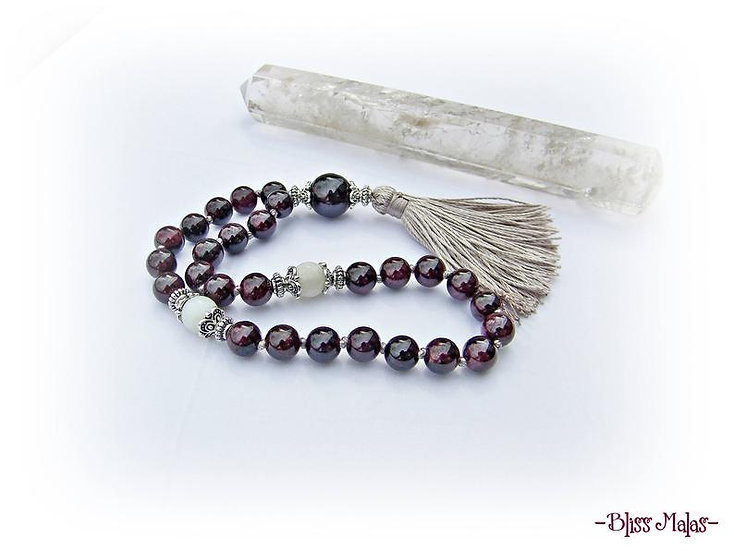 Mini Mala Prayer Beads 27, Garnet, Rainbow Moonstone, Spiritual Yoga Meditation