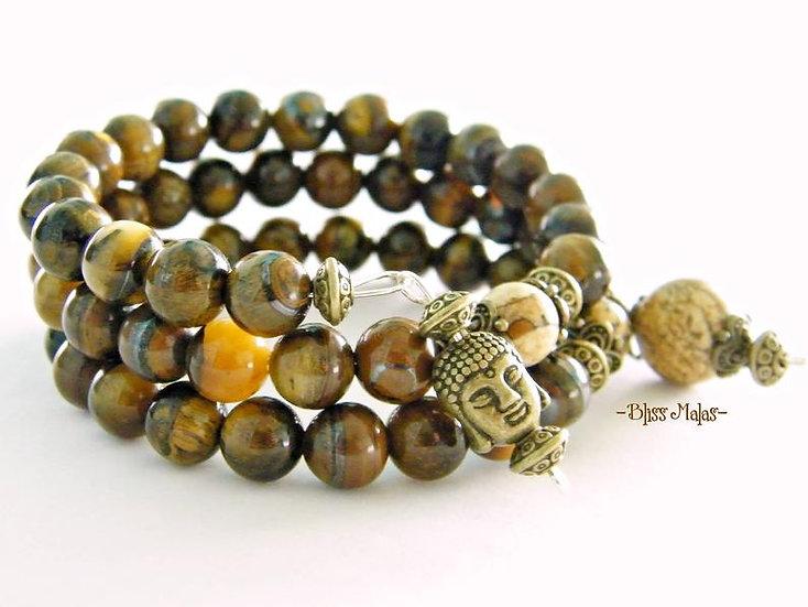 Memory Wire Mala Bracelet 54, Tiger Eye, Picture Jasper, Yoga,Wrist Mala
