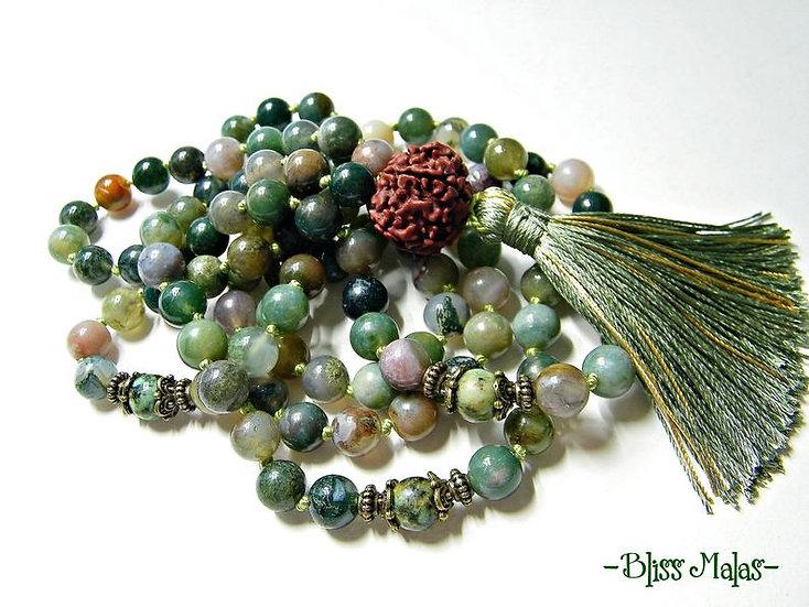 Mala Beads 108, India Agate, African Turquoise, Rudraksha, Yoga and Meditation