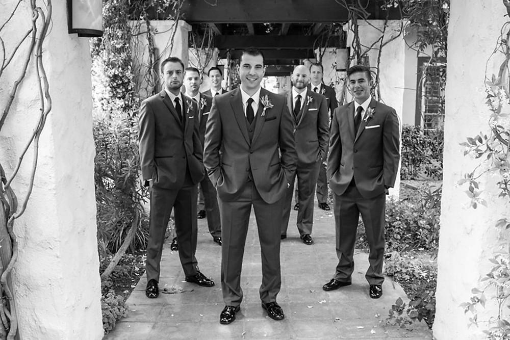 groomsmen at westlake village inn wedding