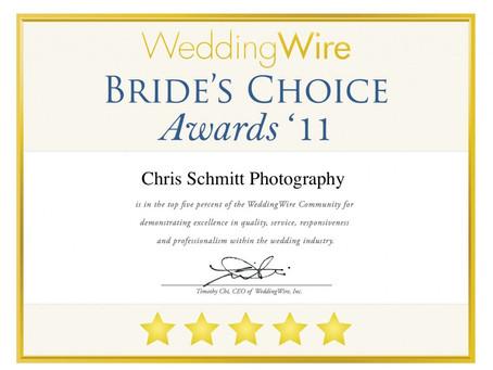 Chris Schmitt Photography wins Brides Choice Award