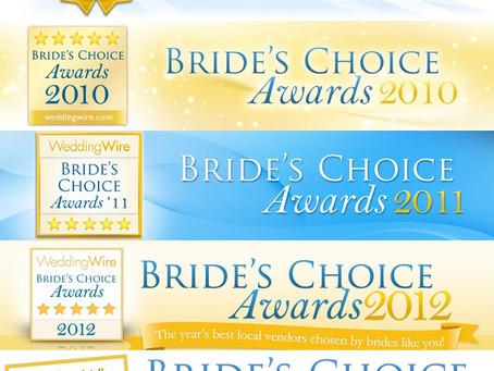 We won 2013 Brides Choice Awards for Best Photographer!