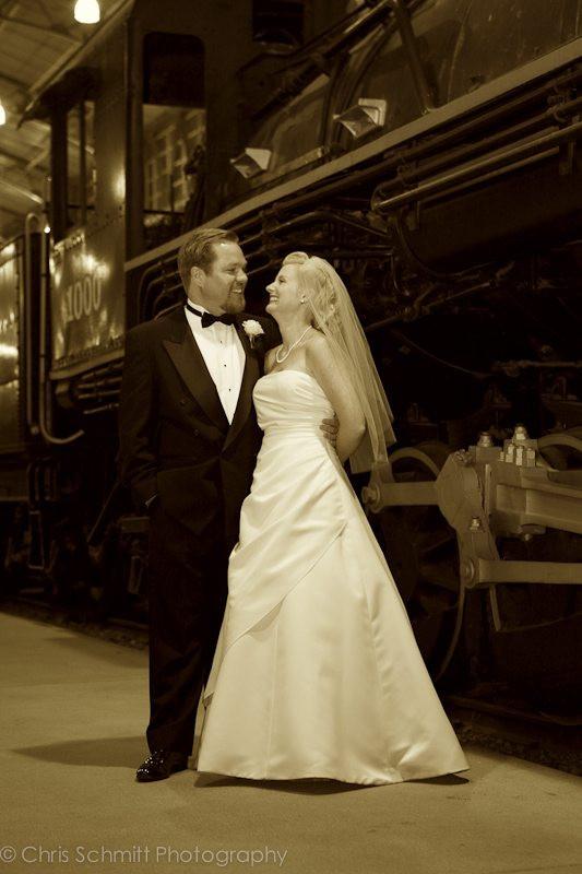travel town train wedding photos