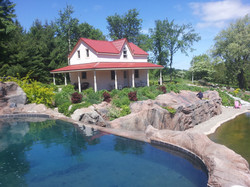 Infinity pool and retaining wall