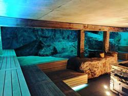 Rock wall sauna