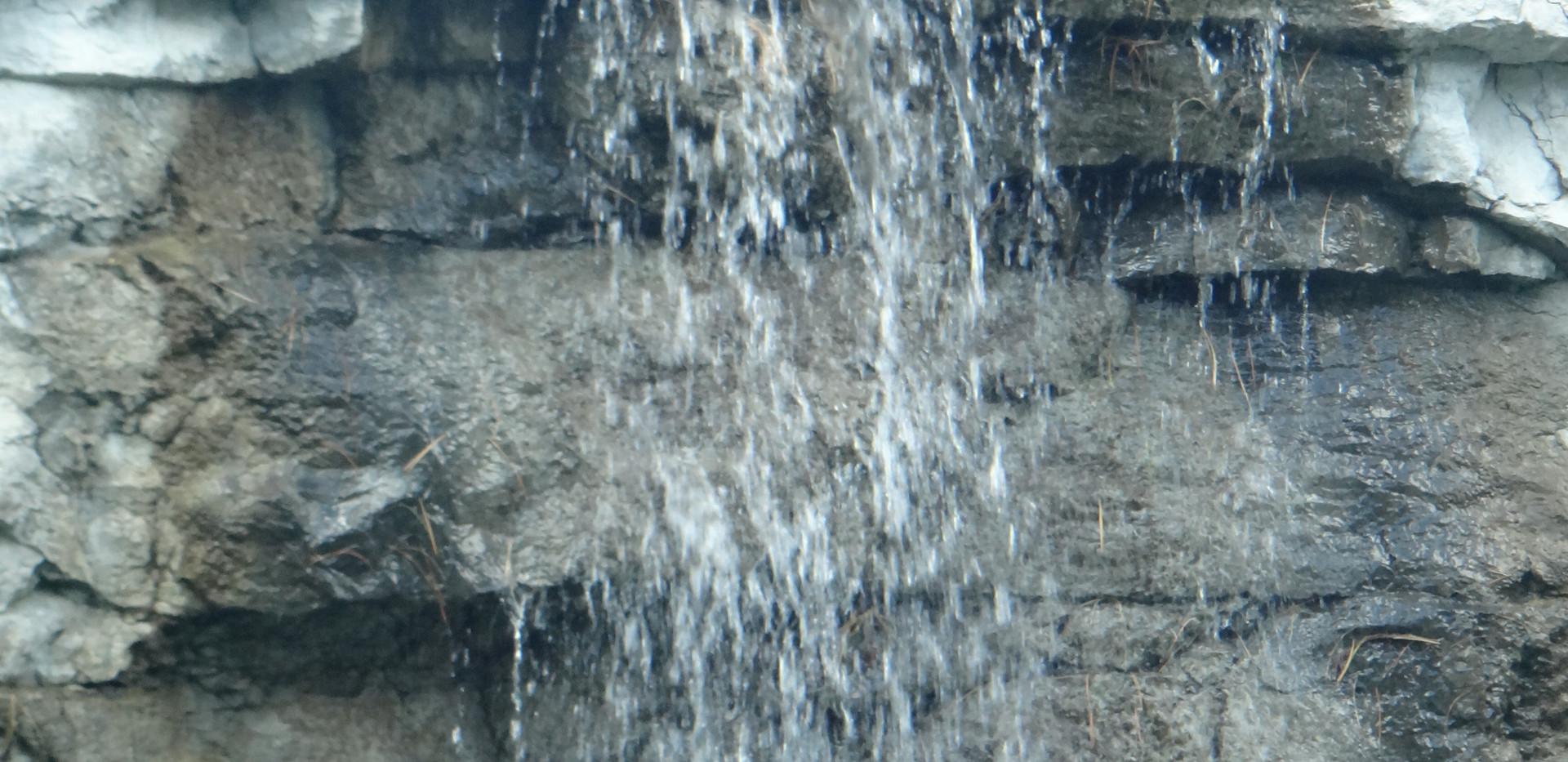 Artificial Rock waterfall close up