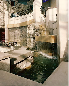Custom indoor faux rock waterfall