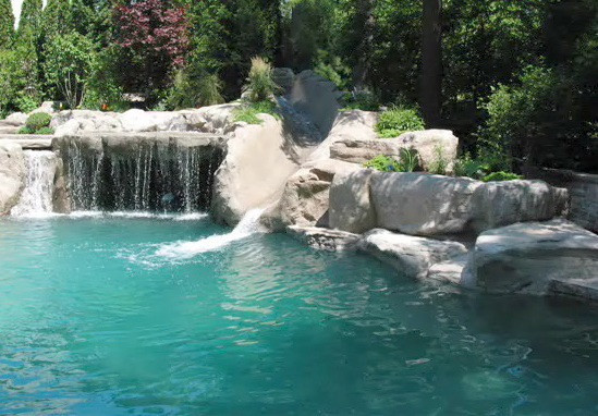 artificial rock waterfall and slide