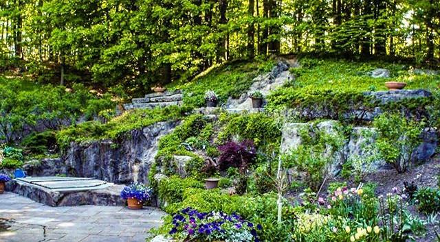 Natrual retaining walls, spa and waterfall